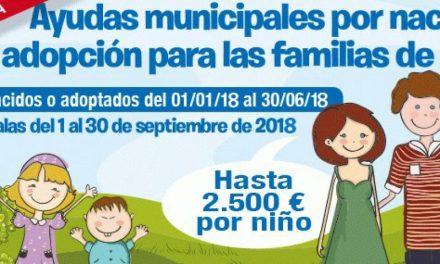 El Ayuntamiento abre una nueva convocatoria de ayudas por nacimiento o adopción de hasta 2.500 euros