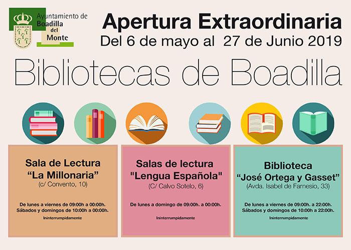 La biblioteca José Ortega y Gasset y las dos salas de lectura abrirán con horario ininterrumpido todos los días de la semana hasta el 27 de junio