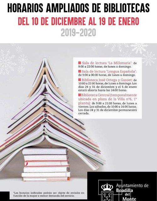 Horario especial de apertura de bibliotecas y salas de lectura hasta el 19 de enero