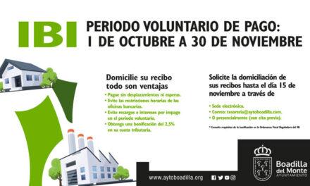 El Ayuntamiento de Boadilla recomienda a los vecinos que domicilien el pago del IBI por las ventajas que conlleva