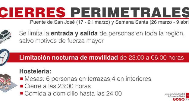 La Comunidad de Madrid aplicará el cierre impuesto en el puente de San José y Semana Santa, pero recurrirá la decisión del Gobierno central